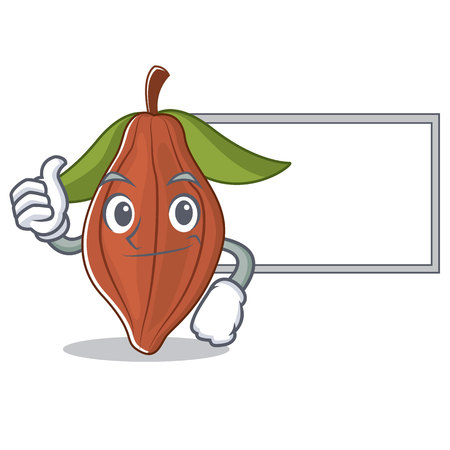 Thumbs up with board cacao bean character cartoon vector illustration