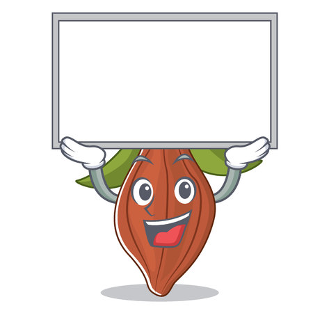 Up board cacao bean character cartoon vector illustration.