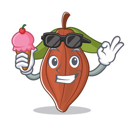 With ice cream cacao bean character cartoon.