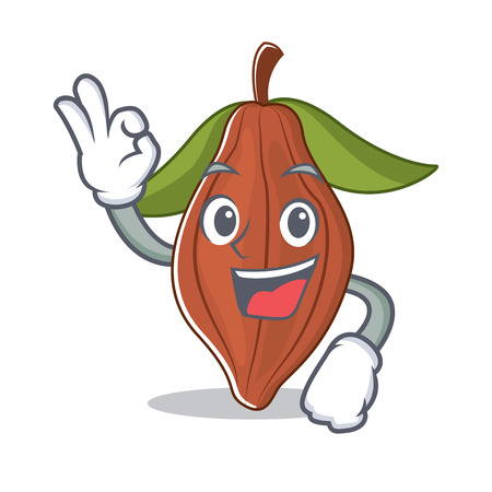 Okay cacao bean character cartoon vector illustration Ilustração