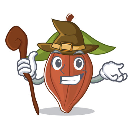Witch cacao bean mascot cartoon vector illustration.