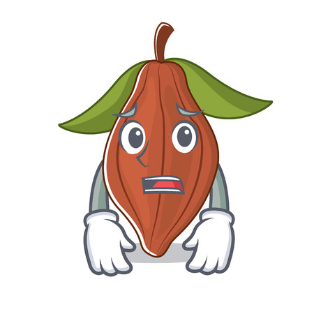 Afraid cacao bean mascot cartoon vector illustration