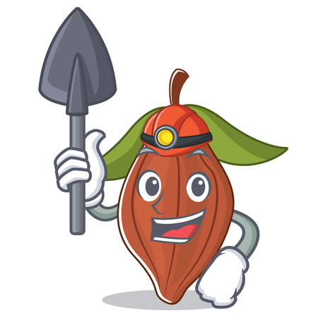 Miner cacao bean mascot cartoon