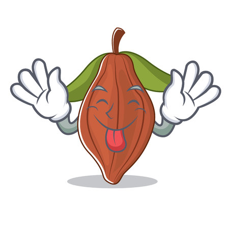 Tongue out cacao bean mascot cartoon Vettoriali