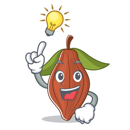 Have an idea cacao bean mascot cartoon vector illustration 일러스트