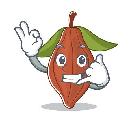 Call me cacao bean mascot cartoon vector illustration