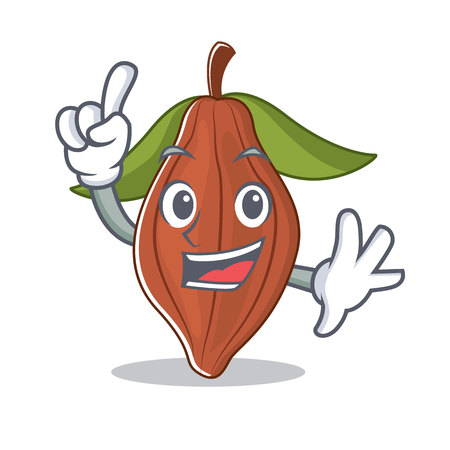 Finger cacao bean mascot cartoon vector illustration