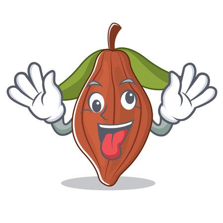Crazy cacao bean mascot cartoon vector illustration