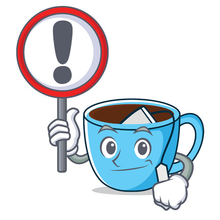 With sign tea cup character cartoon vector illustration
