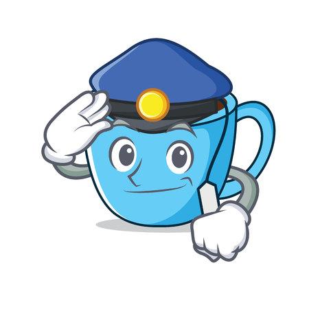 Police tea cup character cartoon vector illustration Illustration