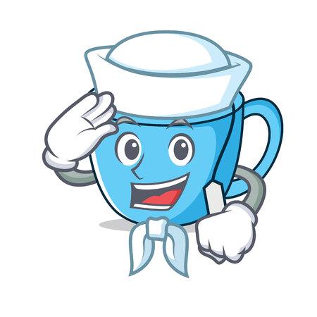 Sailor tea cup character cartoon vector illustration Illustration