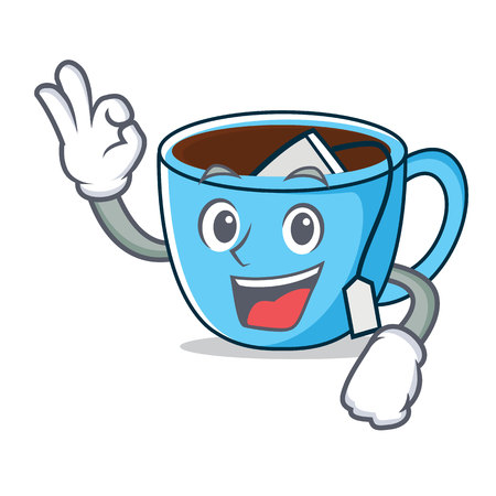 Okay tea cup character cartoon vector illustration Vectores