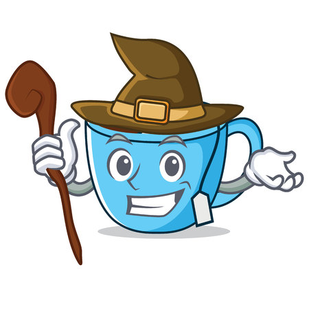 Witch tea cup mascot cartoon vector illustration