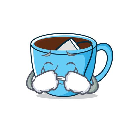 Crying tea cup mascot cartoon Illustration