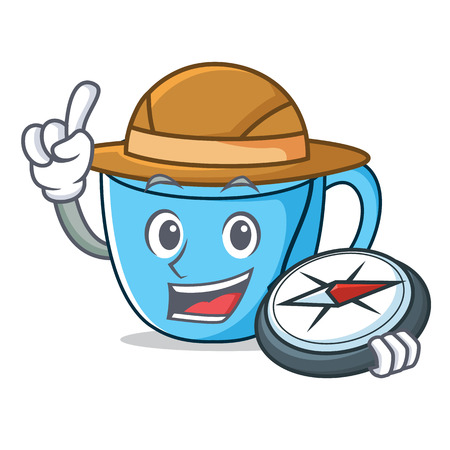 Explorer tea cup mascot cartoon