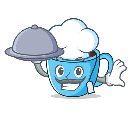 Chef with food tea cup mascot cartoon vector illustration Illustration