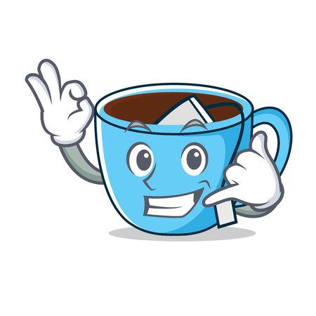 Call me tea cup mascot cartoon vector illustration