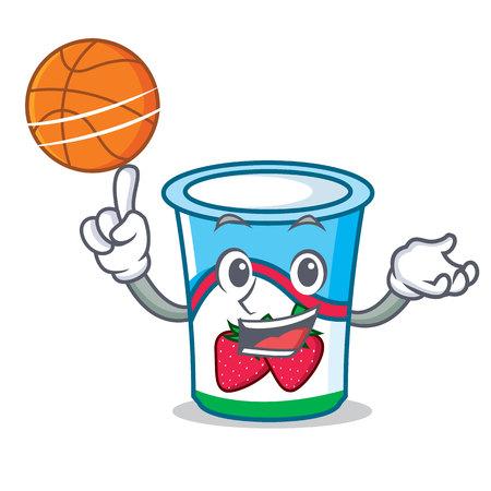 With basketball yogurt character cartoon style vector illustration