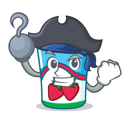 Pirate yogurt character cartoon style vector illustration