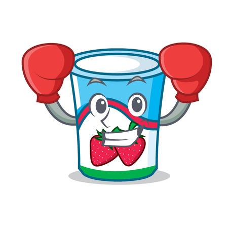Boxing yogurt character cartoon style vector illustration
