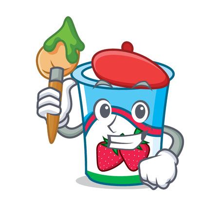 Artist yogurt character cartoon style vector illustration