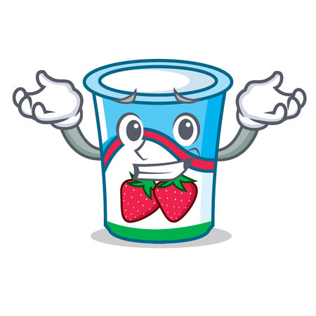 Grinning yogurt character cartoon style vector illustration