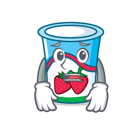 Afraid yogurt mascot cartoon style vector illustration
