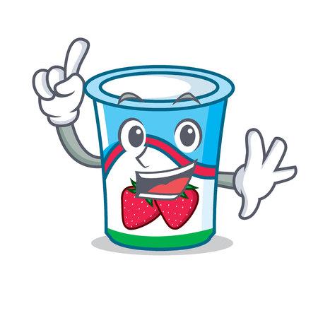 Finger yogurt mascot cartoon style vector illustration Ilustracja
