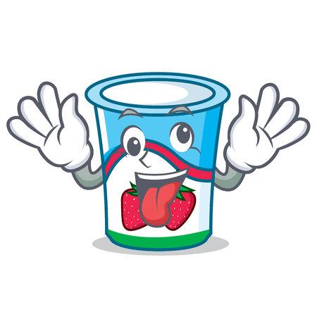 Crazy yogurt mascot cartoon style vector illustration
