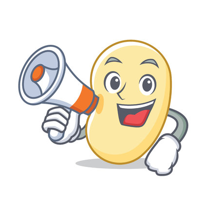 With megaphone soy bean character cartoon vector illustration