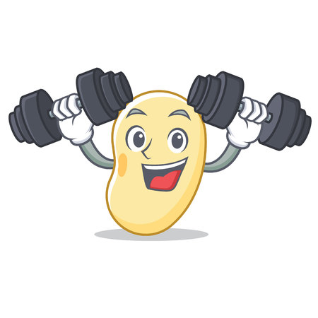 Fitness soy bean character cartoon vector illustration