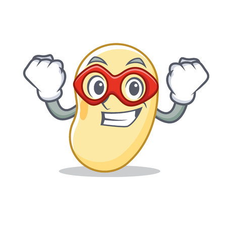 Super hero soy bean character cartoon vector illustration