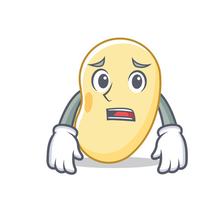 Afraid soy bean mascot cartoon vector illustration