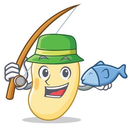 Fishing soy bean mascot cartoon vector illustration