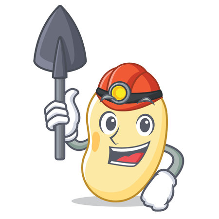 Miner soy bean mascot cartoon