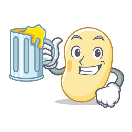 With juice soy bean mascot cartoon vector illustration