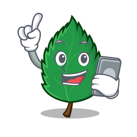 With phone mint leaves character cartoon