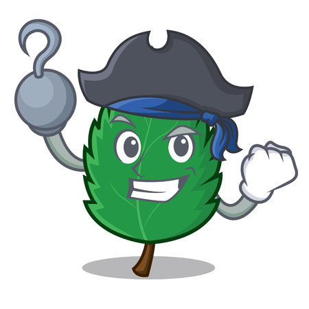 Pirate mint leaves character cartoon