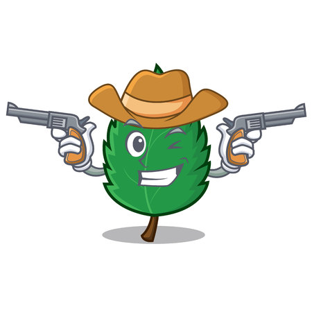 Cowboy mint leaves character cartoon