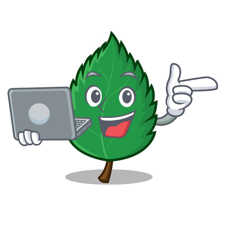 With laptop mint leaves character cartoon