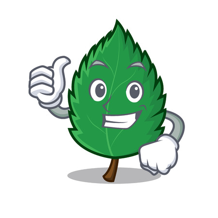 Thumbs up mint leaves character cartoon