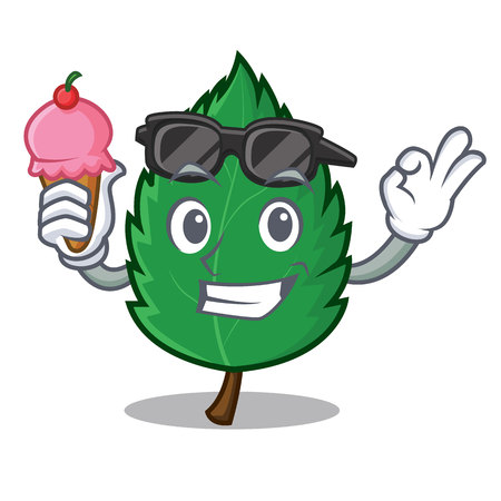 With ice cream mint leaves character cartoon Illustration