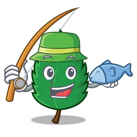 Fishing mint leaves mascot cartoon