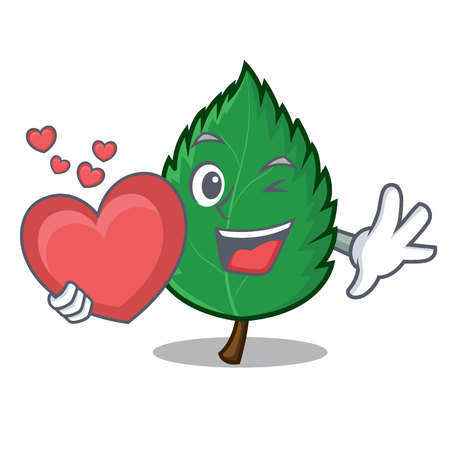 With heart mint leaves mascot cartoon