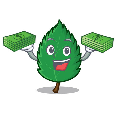 With money mint leaves mascot cartoon