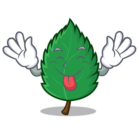 Tongue out mint leaves mascot cartoon illustration.