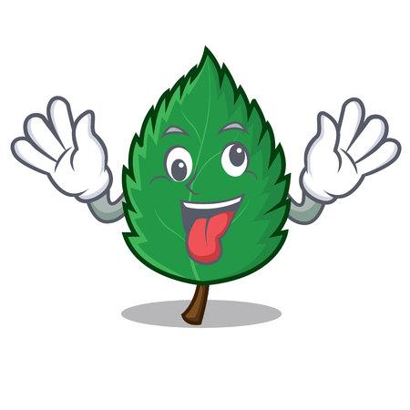Crazy mint leaves mascot cartoon illustration. Illustration