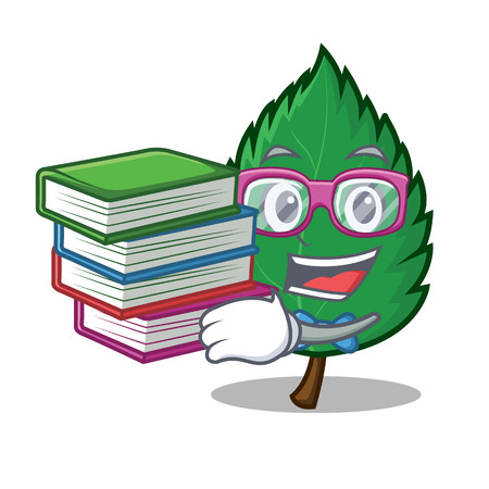 Student with book mint leaves mascot cartoon illustration.