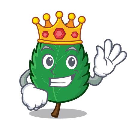 King mint leaves mascot cartoon illustration. Ilustração