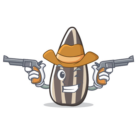 Cowboy sunflower seed character cartoon vector illustration.